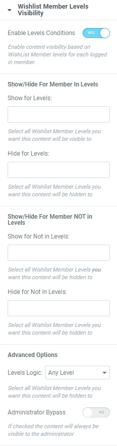 Dynamic Visibility for Wishlist Member & Elementor - Enable Levels Conditions