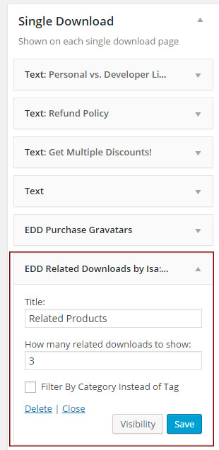 EDD Related Downloads – Widget Settings