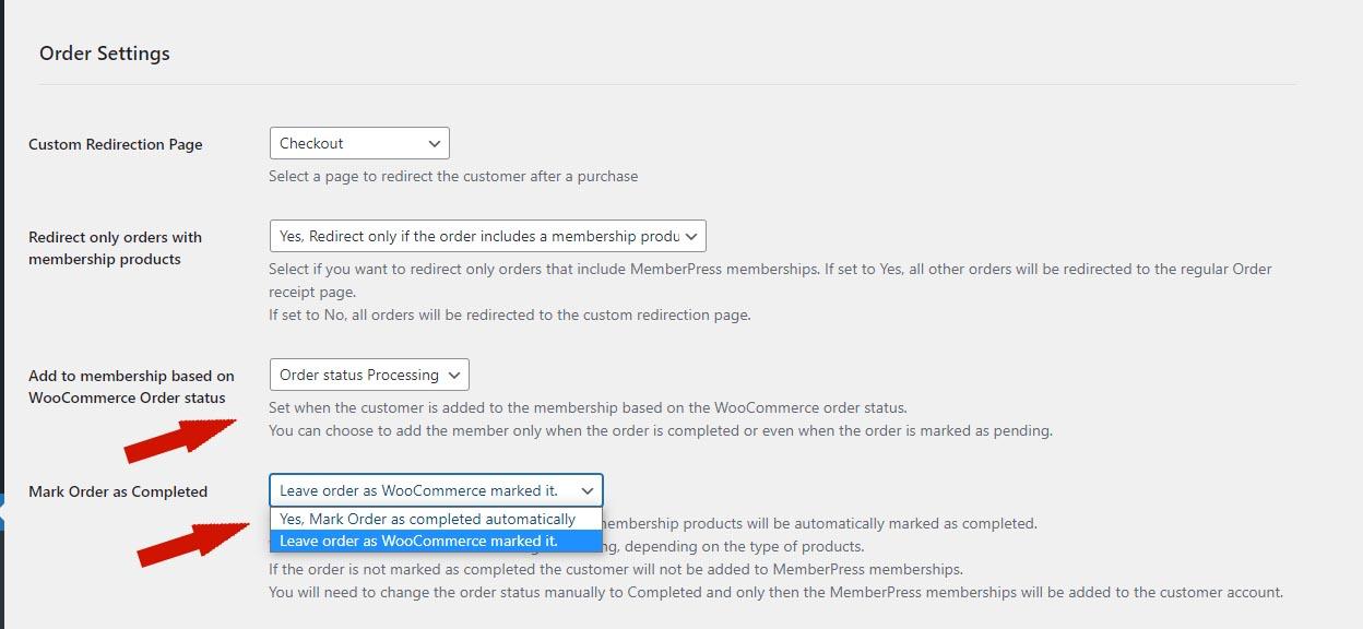 MemberPress WooCommerce Plus Order Statuses