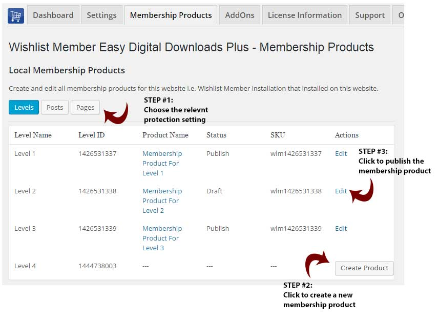 Create local membership products