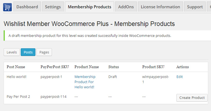 Wishlist Member WooCommerce Integration - Pay-per-post Products Creation