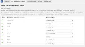 Wishlist First Login Redirection settings